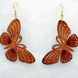 Butterfly wooden dangle Earrings brown